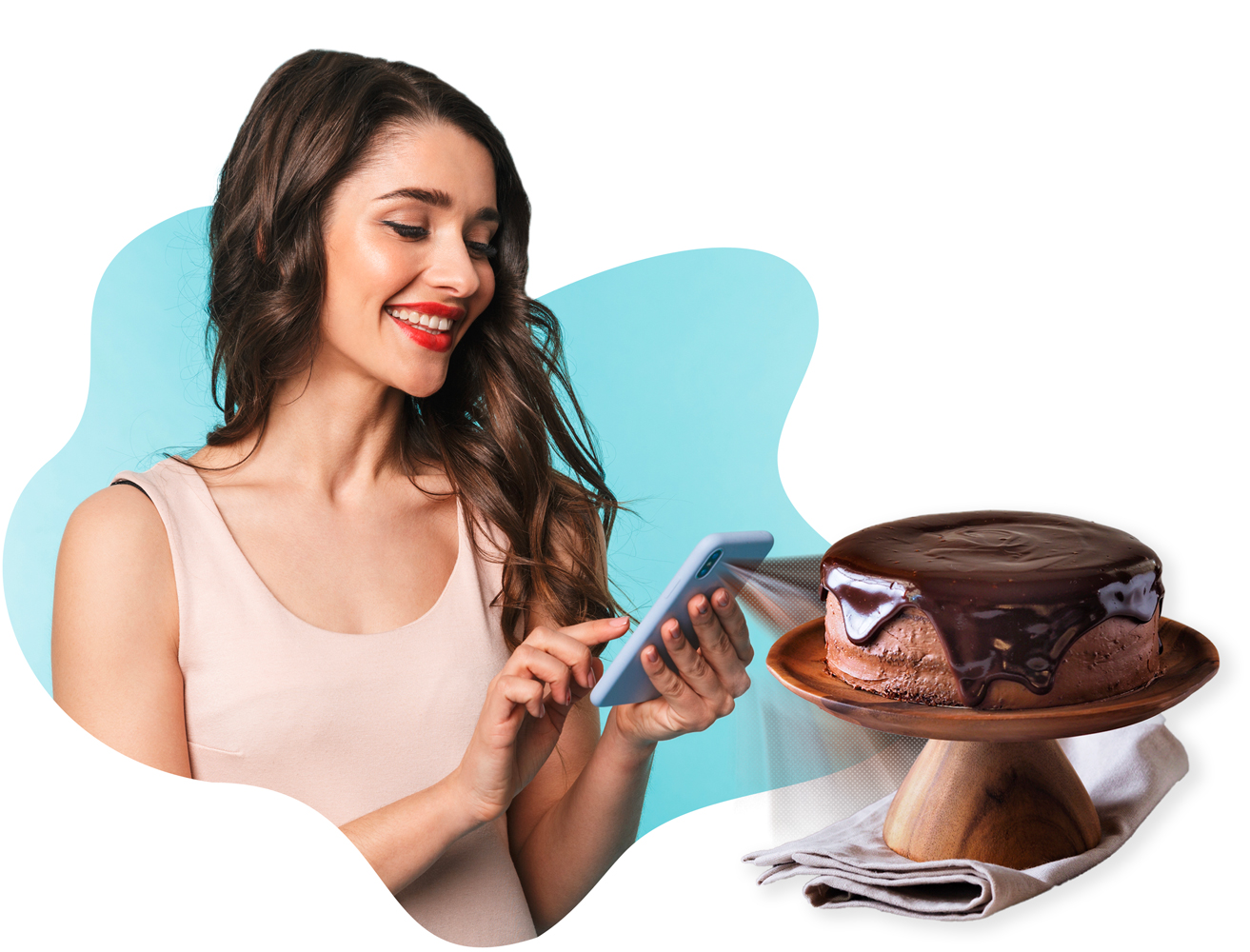 Woman-viewing-chocolate-cake-in-augmented-reality